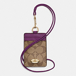 COACH F63274 Lanyard Id Case In Signature IMITATION GOLD/KHAKI/PLUM