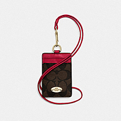 COACH F63274 Signature Lanyard Id Case IMITATION GOLD/BROWN TRUE RED