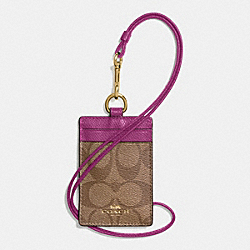 COACH F63274 Signature Lanyard Id Case IMITATION GOLD/KHAKI/HYACINTH