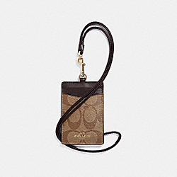 ID LANYARD CASE IN SIGNATURE COATED CANVAS - f63274 - LIGHT GOLD/KHAKI