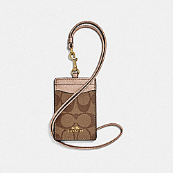 COACH F63274 Id Lanyard In Signature Canvas KHAKI/ROSE GOLD/LIGHT GOLD