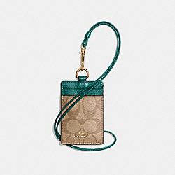 COACH F63274 Id Lanyard In Signature Canvas KHAKI/DARK TURQUOISE/LIGHT GOLD