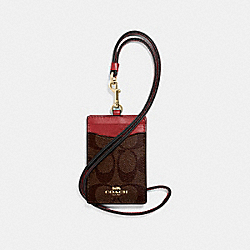 COACH F63274 Id Lanyard In Signature Canvas BROWN/RUBY/IMITATION GOLD