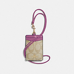 COACH F63274 - ID LANYARD IN SIGNATURE CANVAS LIGHT KHAKI/PRIMROSE/IMITATION GOLD