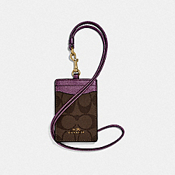 COACH F63274 Id Lanyard In Signature Canvas IM/BROWN METALLIC BERRY
