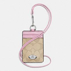 COACH F63274 Lanyard Id Case In Signature SILVER/LIGHT KHAKI/PETAL