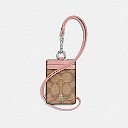 COACH F63274 Id Lanyard In Signature Canvas KHAKI/PETAL/SILVER