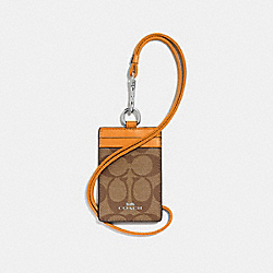 COACH F63274 Id Lanyard In Signature Canvas SILVER/KHAKI/TANGERINE