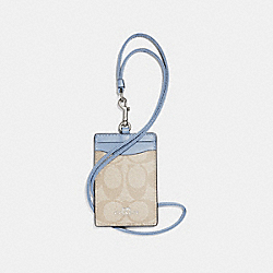 COACH F63274 Id Lanyard In Signature Canvas SV/LIGHT KHAKI/POOL