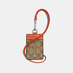 COACH F63274 Id Lanyard In Signature Canvas KHAKI/ORANGE RED/SILVER