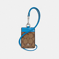 COACH F63274 Id Lanyard In Signature Canvas KHAKI/BRIGHT BLUE/SILVER