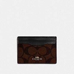 COACH F63279 - CARD CASE IN SIGNATURE CANVAS BROWN/BLACK/LIGHT GOLD