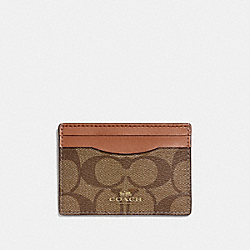 COACH F63279 Card Case In Signature LIGHT GOLD/KHAKI/SADDLE