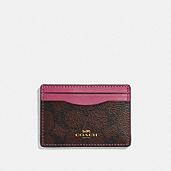 COACH F63279 - CARD CASE LIGHT GOLD/BROWN ROUGE