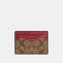 COACH F63279 Card Case In Signature Canvas KHAKI/CHERRY/LIGHT GOLD