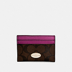 COACH F63279 Card Case In Signature IMITATION GOLD/BROWN/FUCHSIA
