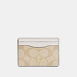 COACH F63279 Card Case In Signature IMITATION GOLD/LIGHT KHAKI/CHALK