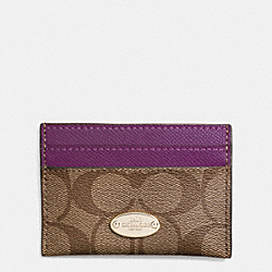 COACH F63279 Card Case In Signature IMITATION GOLD/KHAKI/PLUM