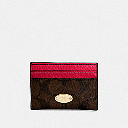 COACH F63279 Card Case In Signature IMITATION GOLD/BROWN TRUE RED