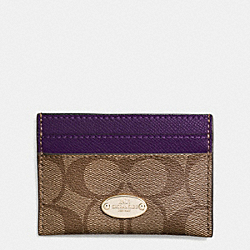 COACH F63279 Card Case In Signature IMITATION GOLD/KHAKI AUBERGINE