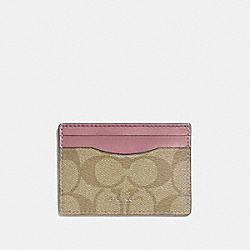 COACH F63279 - CARD CASE IN SIGNATURE CANVAS LIGHT KHAKI/VINTAGE PINK/LIGHT GOLD