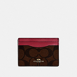 COACH F63279 - CARD CASE IN SIGNATURE CANVAS BROWN/HOT PINK/LIGHT GOLD