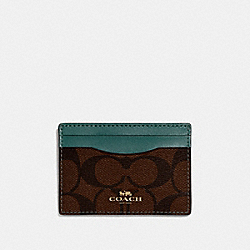 COACH F63279 Card Case In Signature Canvas BROWN/DARK TURQUOISE/LIGHT GOLD