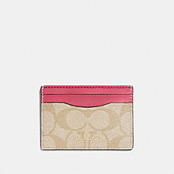 COACH F63279 Card Case In Signature Canvas LIGHT KHAKI/ROUGE/GOLD