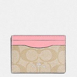 COACH F63279 Card Case In Signature Coated Canvas SILVER/LIGHT KHAKI/BLUSH