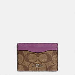 COACH F63279 Card Case In Signature Coated Canvas SILVER/KHAKI