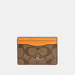 COACH F63279 Card Case In Signature Canvas KHAKI/TANGERINE/SILVER