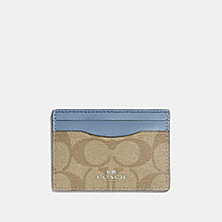 COACH F63279 - CARD CASE IN SIGNATURE CANVAS LIGHT KHAKI/POOL/SILVER