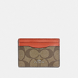 COACH F63279 Card Case In Signature Canvas KHAKI/ORANGE RED/SILVER