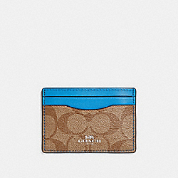 COACH F63279 Card Case In Signature Canvas KHAKI/BRIGHT BLUE/SILVER