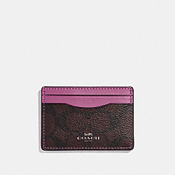 COACH F63279 Card Case BROWN/AZALEA/SILVER