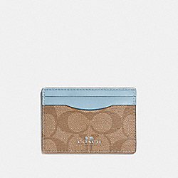 COACH F63279 Card Case In Signature Canvas KHAKI/PALE BLUE/SILVER