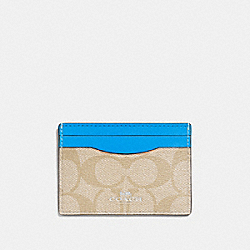 COACH F63279 Card Case In Signature Canvas LIGHT KHAKI/BRIGHT BLUE/SILVER