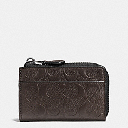 COACH F63313 Zip Key Case In Signature Crossgrain Leather MAHOGANY