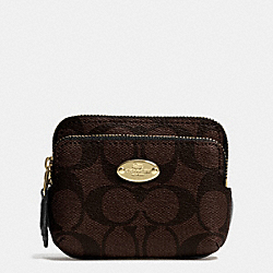 COACH F63338 Double Zip Coin Wallet In Signature Canvas LIGHT GOLD/BROWN/BLACK
