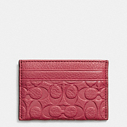 COACH F63357 Signature Embossed Pebble Leather Card Case SILVER/SUNSET RED
