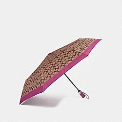 COACH F63364 Signature Umbrella SILVER/KHAKI/MAGENTA