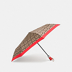 COACH F63364 - UMBRELLA IN SIGNATURE  SILVER/KHAKI/VERMILLION