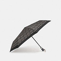 COACH F63364 - UMBRELLA IN SIGNATURE  SILVER/BLACK GREY/BLACK