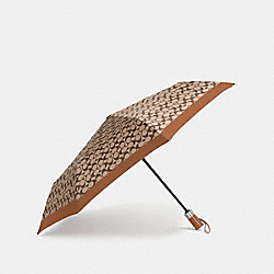 COACH F63364 Umbrella In Signature SILVER/KHAKI/SADDLE