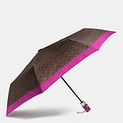 COACH F63364 - UMBRELLA IN SIGNATURE SILVER/BROWN/FUCHSIA