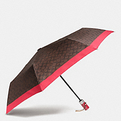 COACH F63364 - UMBRELLA IN SIGNATURE SILVER/BROWN TRUE RED