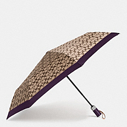 COACH F63364 - UMBRELLA IN SIGNATURE SILVER/KHAKI/AUBERGINE
