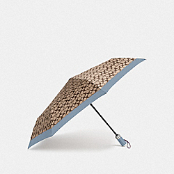 COACH F63364 Signature Umbrella SILVER/KHAKI/STEEL BLUE