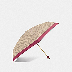 COACH F63365 Signature Mini Umbrella IVORY/ROUGE/GOLD
