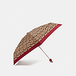COACH F63365 Signature Mini Umbrella CHERRY/SILVER